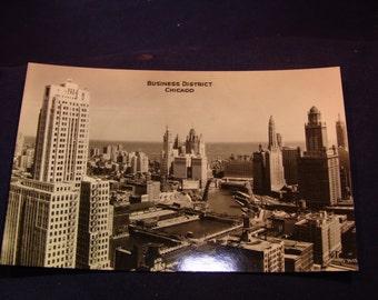 "1930's Vintage Photo Postcard of Chicago skyline ""Business District"""