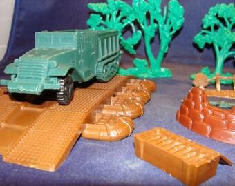 1960's Marx Battleground Playset Half Track Pontoon Bridge Trees Ammo Box Lot