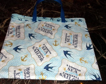 "SWALLOW LOVERS BAG XLg 15.5""X 18"" Reusable Fabric Grocery, Farmers Market w/long poly straps affordable Eco-Friendly Gift"