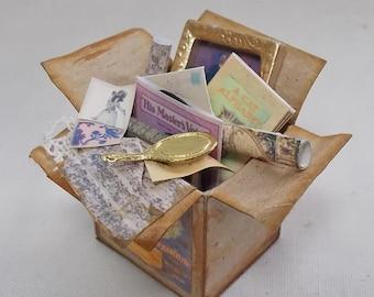 Dolls House Miniature Filled Attic Tea Box