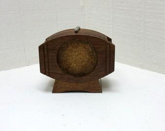 Vintage Wooden Coaster Holder Set Of 6 Coasters Whiskey Barrel