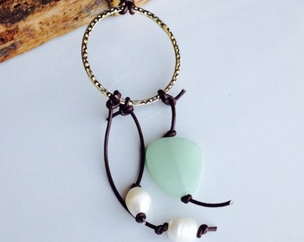 Hoop Necklace, Freshwater Pearls, Tassle, Pearls and Leather Necklace. Etsy, Etsy Jewelry, Leather Cord, Dark Brown Leather, Sea Glass