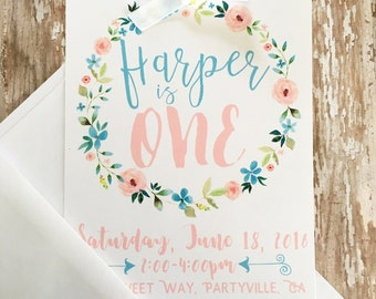 12 floral first birthday invitations, printed flower wreath 1st birthday invitations, watercolor flower invites, first birthday invites