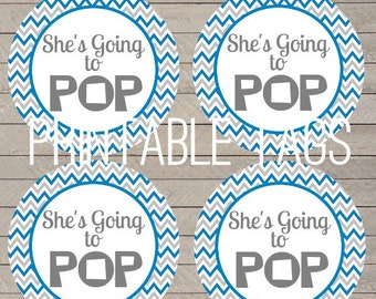printable chevron she's going to pop baby shower tags, blue and gray chevron baby labels, going to pop baby shower tags, chevron baby shower
