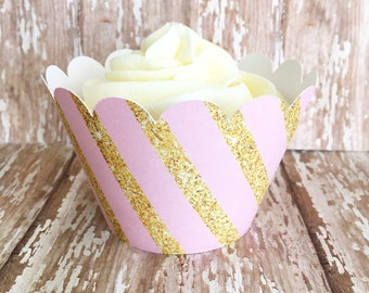pink and gold stripe cupcake wrappers, gold and pink striped cupcake wrappers, wedding cupcake wrappers, set of 24