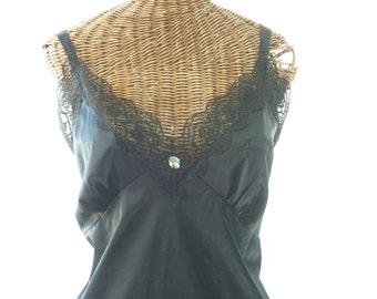 Plus Size Sliperfection Old Stock Dress Slip Black Early 1960 Size 46