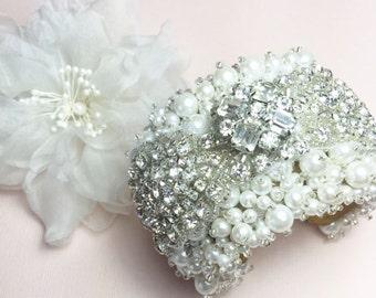 Wedding Cuff, Bridal Bracelet, Bridal Cuff, Vintage Style, Wedding Bracelet, Wedding Jewelry, Bridal Accessories