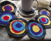 Felt Coasters Set Blue Round Reversible Drink Coasters Needle-felted Wine Beer Six Multicolor Yellow Red Peacock mug rug Tin Canister