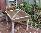 Table - Small BARN DOOR Style - Country Primitive SideTable - FRee SHiPPiNG! ~ Great Price - White Legs & Trim Accents - C Photos-n-Details