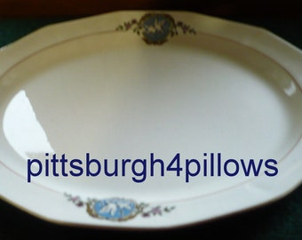 Martha Washington China - Dove Platter - Wear On Gold -  W/ Grazing But Smooth - 13 1/4 x 10 3/4 -