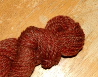 SANTA FE Handspun 2 Ply Merino Wool Skein Yarn Rust Red Cream Pink Worsted