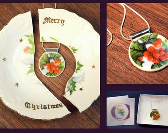 CUSTOM Broken China Plate Jewelry - made from YOUR OWN china plate - Just in time for Christmas
