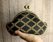 Small black and gold evening bag, black clutch bag, antique brass frame, round frame, small gold and black purse, geometric diamonds