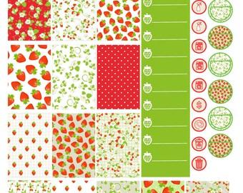 Strawberry Dreams Happy Planner Printable Stickers