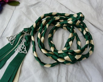 Celtic hand fasting cord- dark green and ivory - Celtic triquetra charms