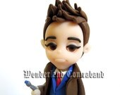 NEW - Pouting 10th Doctor - Miniature Sculpture - OOAK Surface Decor