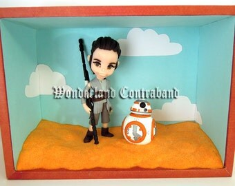LAST CHANCE - Rey and BB8 - OOAK Miniature Sculpture - Wall Decor
