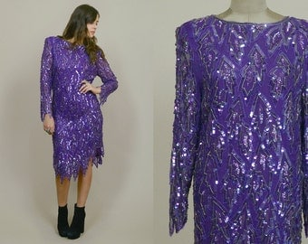 Sequin Dress 80s Trophy Dress Purple Silk Beaded Strong Shoulders 1980s Party Dress Icicle Mermaid Great Gatsby Leaf / Size M Medium