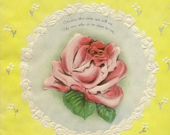 Vintage Mother's Day Greeting Card 1941 Pink Rose and Little Mirror To Reflect Mom's Image – Charming Novelty Card
