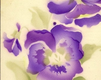 Purple Pansies on Vintage Best Wishes Postcard – Stunning Art Card from Alfred Holzmann