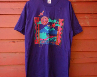 80s Purple Native American Idaho Travel Sun Worship Tshirt L