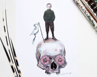 Skull with flowers and Edwardian boy illustration artwork A4 print