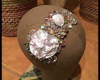 White AB Swarovski Crystal Wedding Bride Dancer Costume Hairpiece