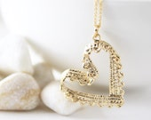Heart Necklace in Gold. Lace Heart. Love. Valentine's Gift. Anniversary. Gift For Her (PNL-160)