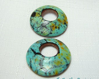 Handmade Polymer Clay Faux Turquoise Earring Beads - Round Cutout -Jewelry Supplies