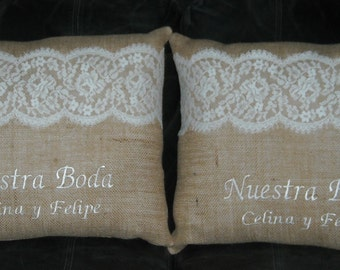 Personalized Beautiful Handmade Wedding Kneeling Pillows  Set of Two Pillows