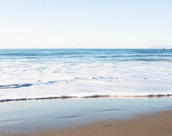 "Beach Art Print, White Blue Coastal Decor, Ombre, Seascape, Minimalist Abstract, Beach Photography, Coastal Art, Coastal Room ""White Ombre"""