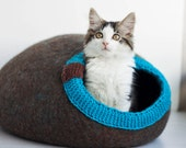 Pet bed - cat cave - cat house - dog bed - handmade wool cat bed - eco - brown- chocolate - turquoise -Mother's day gift