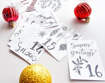 Advent Calendar DIY Printable - 24 Card December Calendar - Countdown to Christmas - DIY Christmas Decor - Christmas Cards, Instant Download