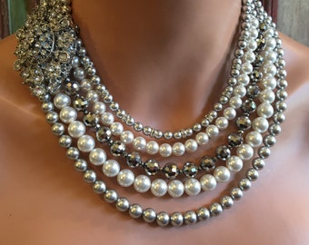 Chunky Bold Statement Necklace Set with Brooch in Grey Swarovski Pearl Crystal and Rhinestones bridal wedding mother of the bride jewelry