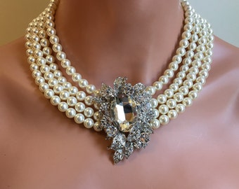 Audrey Hepburn Pearl Necklace with Rhinestone Brooch 4 multi strands Swarovski Pearls Breakfast at movie replica Holly Golightly costume