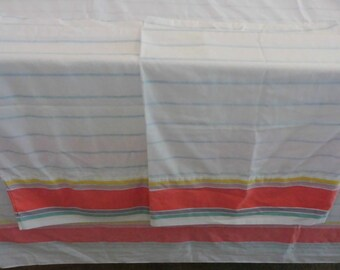 Vintage Bedding Sheet Full Flat Sized & 2 matching Pillow cases Standard size Springmaid -Vintage Striped Cottage Bedding