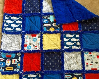 Nautical Rag Quilt Crib Set Navy Blue Whales Message in a Bottle Blanket and Pillow Cover
