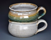 His and Her Pottery Soup Mugs Ceramic Bowls Stoneware