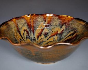 Ceramic Serving Bowl Burnt Umber Pottery Salad Bowl A
