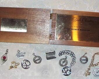 Sale 30.00  12 Piece Lot of SARAH COVENTRY Vintage HOSTESS Awards Pieces, Charms, Bracelets
