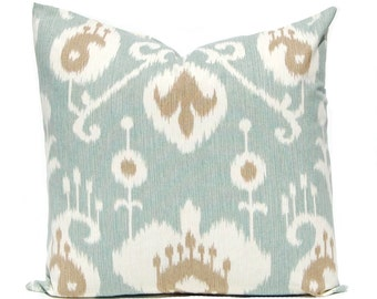 Seafoam Pillow Cover - Aqua Ikat Pillow Cover - All Sizes - Cushion Cover with Brown Accents - Decorative Pillow Cover - Throw Pillow