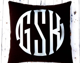 Metallic Monogram Pillow - Personalized Gift - Decorative Pillow - Custom Pillow - Throw Pillow Cover - Dorm Decor - Monogram Cushion