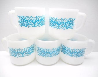 Vintage Federal Glass  Mugs , Blue Floral Coffee Cups