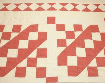 Sweet Red and Ivory 1800s Antique Cutter Quilt Piece - 32 x 22 inches