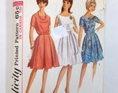 Vintage Dress Pattern Simplicity 5865 Belted 1960s Dress Retro