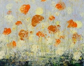 Original Painting Abstract Floral Garden Oil Cold Wax  12 x 12 MY SUNSHINE Swalla Studio Free Shipping