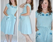 Vintage 1950s SWIRL Aqua Blue and White Check Cotton Embroidered Roses Wrap Dress Excellent 36 Inch Bust