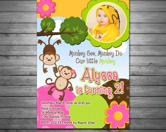 Girls Monkey Birthday Party Invitations, Printable File, Photo Invite, Girls Monkey Invitation, Monkey Birthday Invitation