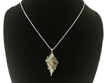 Black & Brown Jasper Prong Set Pendant  - Handmade Solid Sterling Silver Reiki Infused Necklace