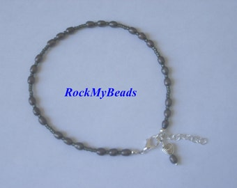 Gray pearl Ankle Bracelet - Anklet, ankle jewelry, leg jewelry, pearls, pearl anklet
